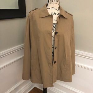 Ann Taylor Trench Poncho Cape Khaki Lined Collar